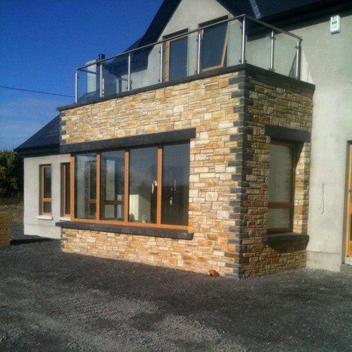 Real stone house front cladding by quality donegal stone masons - Inish Stone